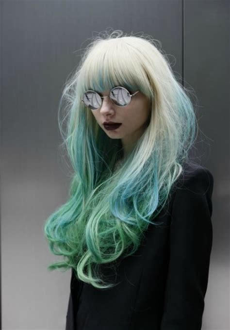 hair green blue ombre platinum blonde turquoise hair hair pinterest