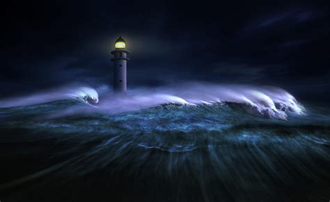 lighthouse  stormy sea hd wallpaper background image