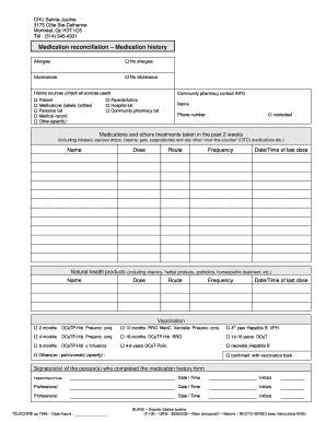 Drug Reconciliation Form Fill Online Printable Fillable Blank Pdffiller Medication History Form Templates