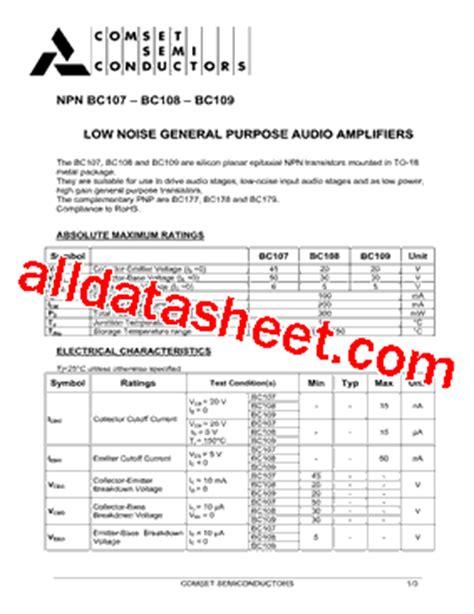 datasheet of transistor bc107 bc107 datasheet pdf comset semiconductor