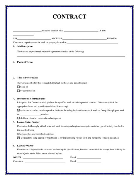 construction work contract template best photos of simple employment agreement template