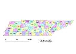 Tennessee Zip Code Map by Tennessee