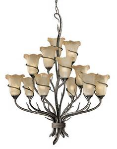 Chandelier with glass shades with 12 lights black forest decor
