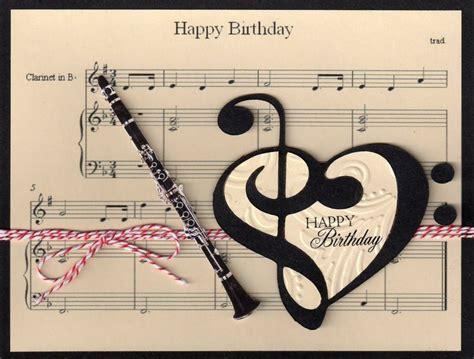 Musical Birthday Cards Music Clarinet Birthday Card Music Pinterest