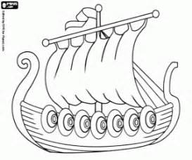 The viking ship used in the attacks the drakkar coloring page