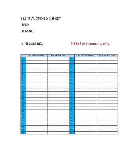 40 silent auction bid sheet templates word excel