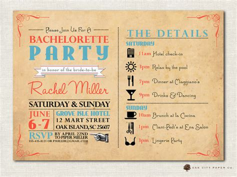 bachelorette itinerary template bachelorette invitation bachelorette invitation