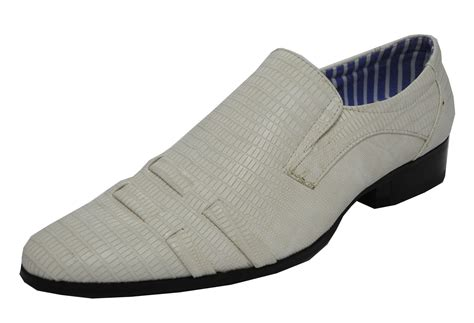 mens snakeskin look slip on dress wedding shoes ivory