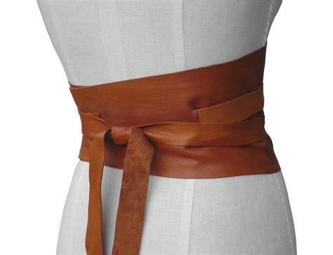 bohemian wide leather obi belt honey underbust corset