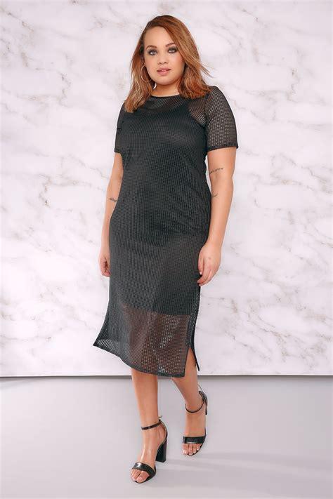 Id 740 Split Mesh Dress limited collection black fishnet mesh midi dress with side