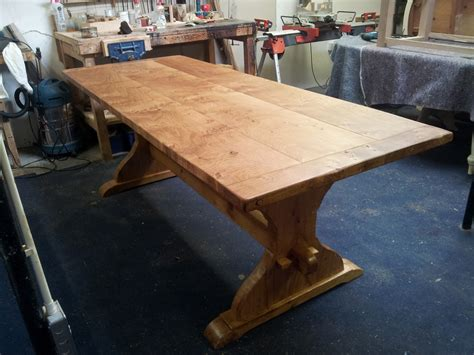 Handmade Oak Tables - handmade table in pippy cats paw oak with reclaimed oak
