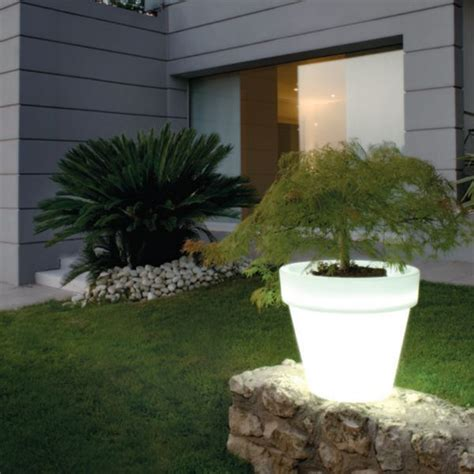 Illuminated Garden Planters by Serralunga Bordato Illuminated Outdoor Planter Lighted