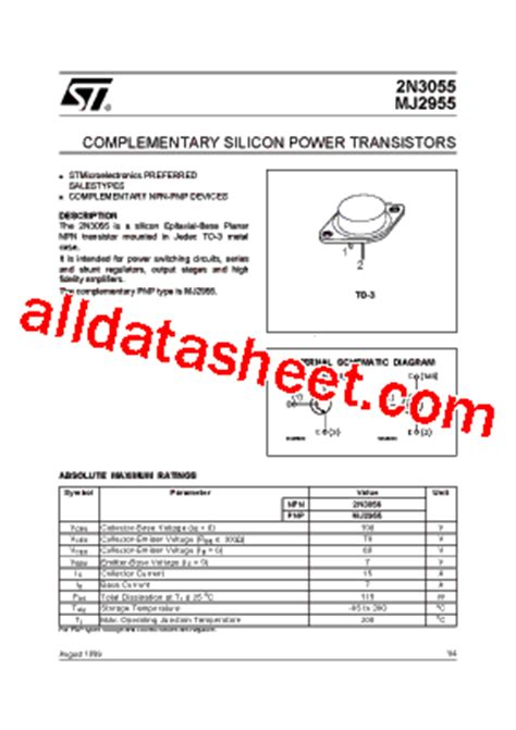 2n3055 datasheet pdf stmicroelectronics