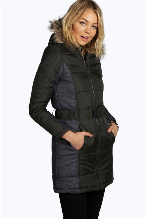 Quilted Womens Coat by Boohoo Womens Rosie Belted Quilted Coat Ebay