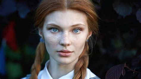 red head teens with corn rolls women redhead blue eyes face freckles braids