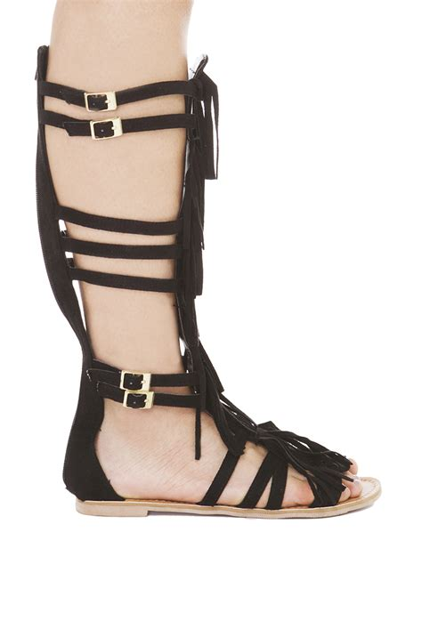 gladiator sandals with fringe strappy knee high black fringe gladiator sandals in