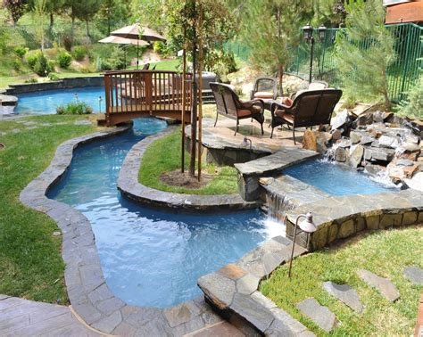 Small Backyard Lazy River Pool Design With Stone Liner And Backyard Pool With Lazy River