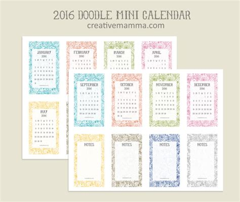 mini calendar template creative mamma 187 free printable 2016 mini calendar
