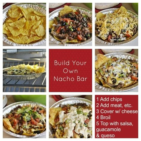 nacho bar toppings chili con queso dip and build your own nacho bar