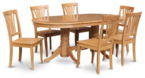 vancouver 7pc set with pedestal table and 6 wood