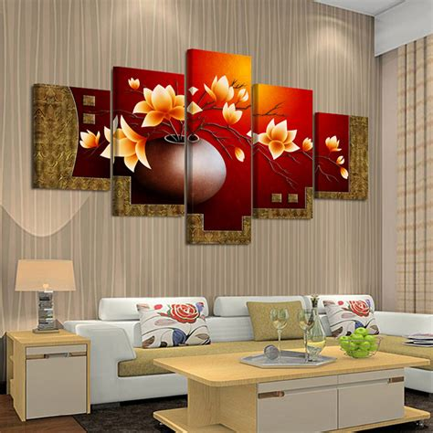 home decor wall painting flower canvas painting cuadros 5 piece magnolia flower vase canvas print oil painting