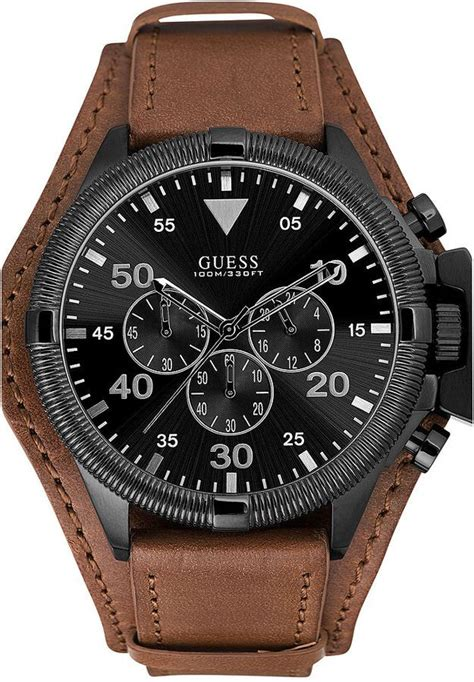 Guess Chrono Polos Leather guess s chronograph honey brown leather cuff