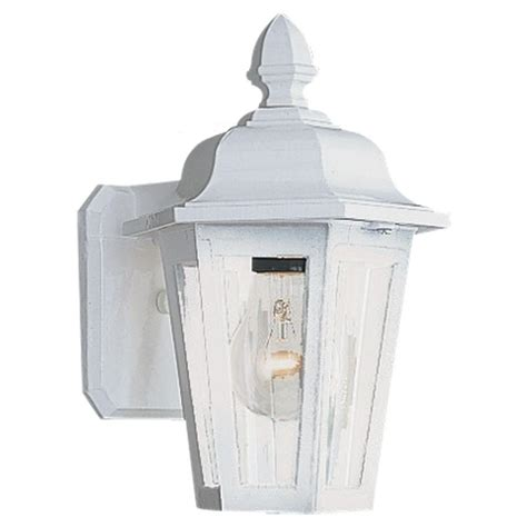 Seagull Outdoor Lighting Sea Gull Lighting Brentwood 1 Light White Outdoor Wall Fixture 8822 15 The Home Depot
