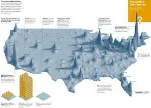 elevation map of us cities another way to show the population distribution in the usa