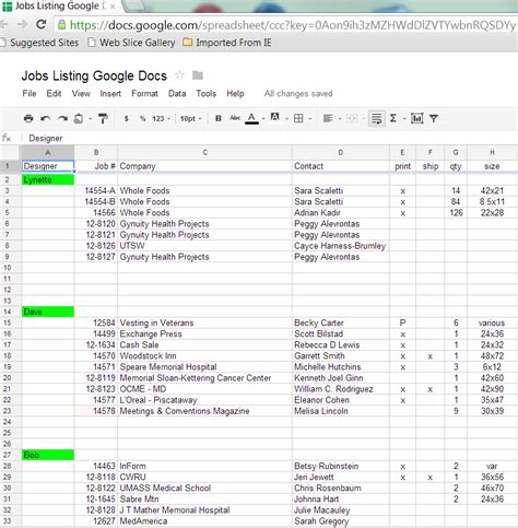 Shared Spreadsheet by Spreadsheets With Docs Megaprintinc