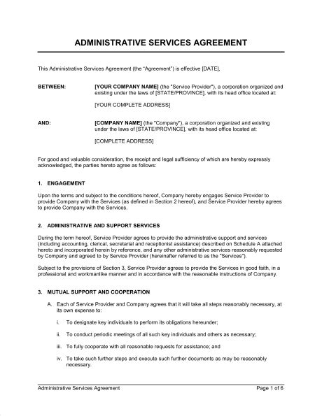 service provider agreement template administrative services agreement template sle form