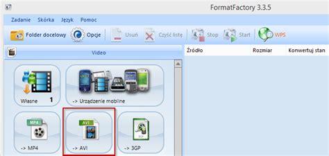 format factory zmiana formatu jak przekonwertować film mp4 mkv na stary odtwarzacz dvd divx