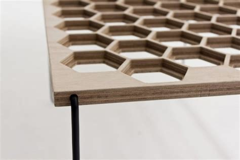 Wooden Table With Unique Surface Of Honeycomb Pattern