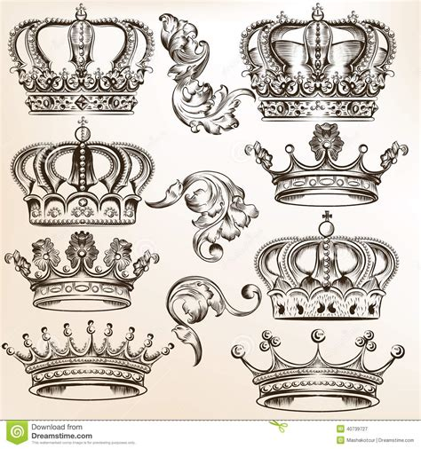 collection of vector detailed crowns stock vector