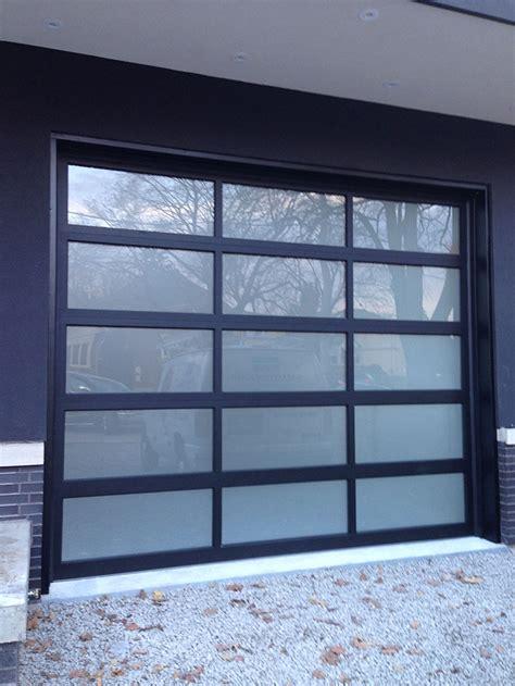 oversized aluminum frosted glass modern garage door