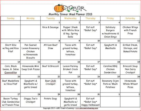 monthly food menu template october 2013 dinner monthly menu planner menu planners