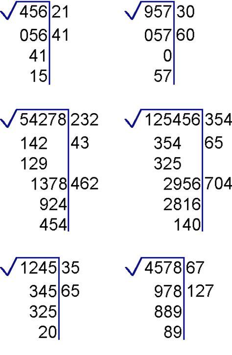 ejercicio de la raiz cuadrada ejercicios de ra 237 z cuadrada y su residuo