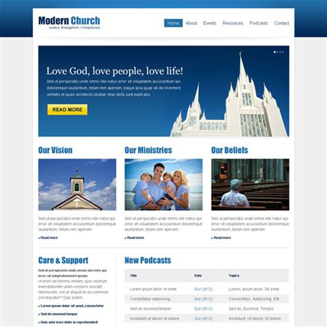 Clean And Effective Church Website Template Design Psd At Affordable Price Cheap Web Page Templates