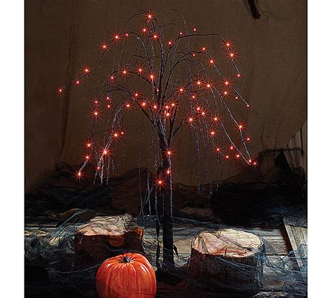 black tree with orange lights led black tree w orange light