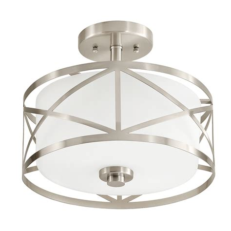 lowes light fixtures shop kichler edenbrook 11 5 in w brushed nickel frosted glass semi flush mount light at lowes
