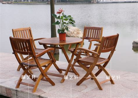 Wood Patio Table Set Yixuan Rattan Outdoor Furniture Wood Folding Tables And Chairs Terrace Lounge Bar Chairs Set