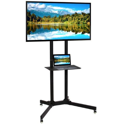 mobile tv stand best choice products flat panel steel tv stand mobile tv cart w lockable wheels 32 quot 65 quot screen