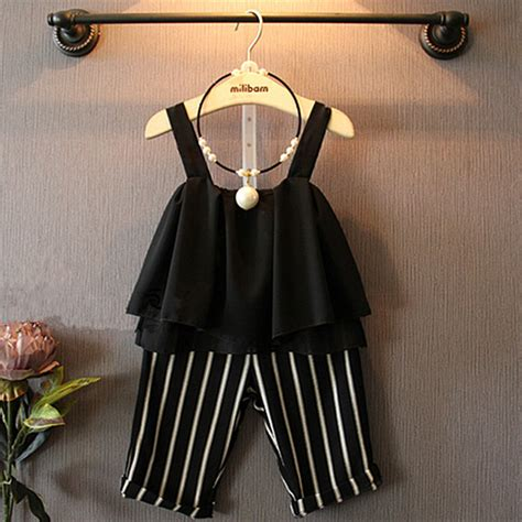 New Baba Slings Stripe 2017 new clothing sets summer clothes black sling striped cropped