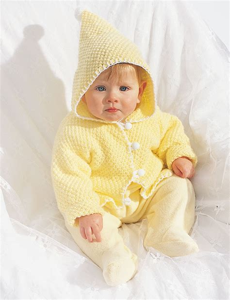 free knitting pattern for baby hooded jacket hooded baby jacket patterns yarnspirations