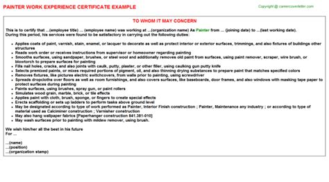 Work Experience Letter To Whom It May Concern Work Experience Letter To Whom It May Concern Www