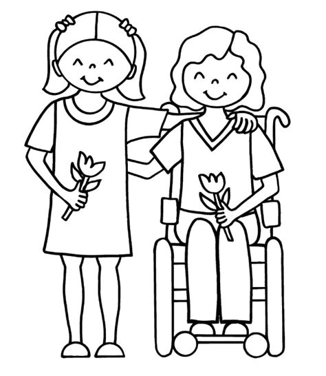 Coloring Pages For Adults With Disabilities | dog helping people with disability coloring page