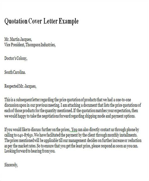 Sle Letter For Product Quotation Sle Product Quotation Cover Letter For A Cost