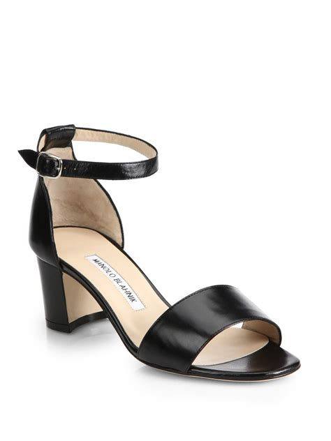 ankle sandals manolo blahnik lauratom leather ankle sandals in