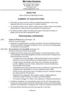 resume sample for a senior software engineer susan