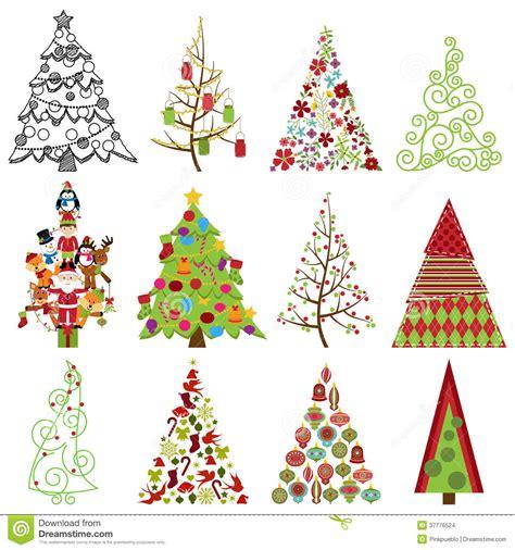 imagenes navidad vector colecci 243 n del vector de 225 rboles de navidad estilizados