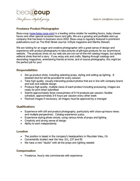 Sle Resume For Photography Freelance Photographer Resume Sle 28 Images Resume For A Photographer Freelance Photographer
